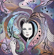 Beautiful Eyes Posters - Cosmic Hair Poster by Disko Galerie