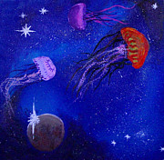 Outer Space Painting Posters - Cosmic jellyfish  Poster by Andy Lawless