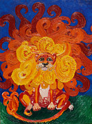 Paws Painting Originals - Cosmic Lion by Cassandra Buckley