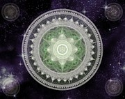 Heavenly Body Prints - Cosmic Medallions Earth Print by Shawn Dall