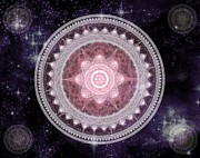 Heavenly Body Prints - Cosmic Medallions Fire Print by Shawn Dall