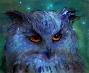 Mood Art Giclee Framed Prints - Cosmic Owl painting Framed Print by Svetlana Novikova