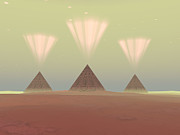 Egyptian Mummy Prints - Cosmic Pyramids Print by Corey Ford