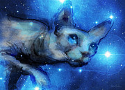 Giclee Mixed Media - Cosmic sphynx cat  by Svetlana Novikova