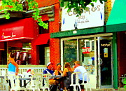 Montreal Diners Prints - Cosmos All Day Breakfast Diner Chef Tony  Man Of Grease Montreal Memories Art Carole Spandau Print by Carole Spandau