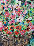 Watercolorist Painting Originals - Cosmos and Petunias in a Wicker Basket by Esther Newman-Cohen