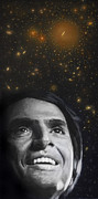 New York City Painting Posters - Cosmos- Carl Sagan Poster by Simon Kregar