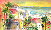 Canary Drawings Prints - Costa Adeje 04 Print by Miki De Goodaboom