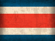Costa Rica Prints - Costa Rica Flag Vintage Distressed Finish Print by Design Turnpike