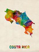 Costa Rica Watercolor Map Print by Michael Tompsett
