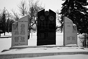 Town Square Prints - cote keeseekoose and key first nations war memorials in Kamsack Saskatchewan Canada Print by Joe Fox