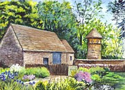 Garden Scene Drawings Metal Prints - Cotswold Barn Metal Print by Carol Wisniewski