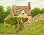 Stone Pastels Posters - Cotswold cottage Poster by Rebecca Prough