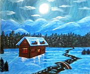 Snowy Night Painting Posters - Cottage and snowy mountains Poster by Mehveen Khan