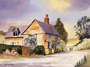 Locations Painting Prints - Cottage At Coleshill Village Print by Bill Holkham