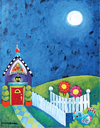Cute Mixed Media Originals - Cottage at Night by Shelley Overton