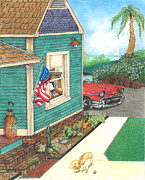 United States Pastels Posters - Cottage by the Sea Poster by David Gallagher