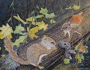Chipmunks Paintings - Cottage Chips 2 by Laura Laughren