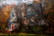 Red Door Posters - Cottage - Cranford NJ - Autumn Cottage  Poster by Mike Savad