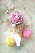 Kitchen Photos Photo Prints - Cottage Floral Pink and Yellow Macarons and Waffle Cone Floral and Food Photography Print by Kathy Fornal