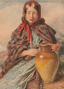 Pitcher Paintings - Cottage girl seated with a pitcher by William Henry Hunt