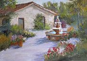 Spanish House Paintings - Cottage In Carmel by Mohamed Hirji