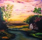 Michael Kulick Prints - Cottage In The Evening Print by Michael Kulick