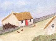 Turf Paintings - Cottage in the West by Tis Art