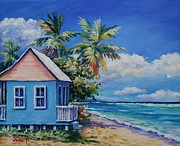 Puerto Rico Paintings - Cottage on the Beach by John Clark