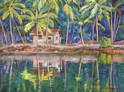 Color Image Paintings - Cottage on the river by Dominique Amendola