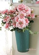 Shabby Chic Flowers Prints - Cottage Shabby Chic Hanging Basket Pink Flowers Print by Kathy Fornal