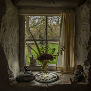 John Hallett Acrylic Prints - Cottage window Acrylic Print by John Hallett