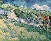 Cloud Prints Prints - Cottages at Auvers sur Oise Print by Vincent Van Gogh