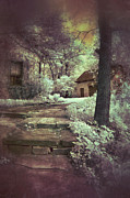 Stone Steps Posters - Cottages in the Woods Poster by Jill Battaglia