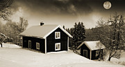 Snow Scape Framed Prints - Cottages In Wintery Snow With Moonlight Framed Print by Christian Lagereek