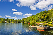 Property Photo Prints - Cottages on lake with docks Print by Elena Elisseeva