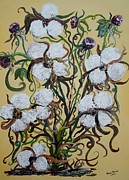 Southern Plantation Paintings - Cotton #2 - Cotton Bolls by Eloise Schneider