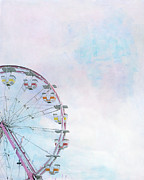 Ferris Wheels Prints - Cotton Candy Ferris Wheel Print by Kay Pickens