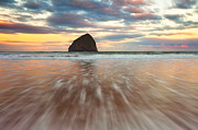 Haystack Rock Framed Prints - Cotton Candy Sunrise Framed Print by Darren  White