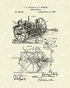 Cotton Drawings Prints - Cotton Chopper 1887 Patent Art Print by Prior Art Design