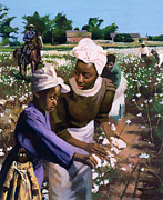 American Culture Painting Prints - Cotton Pickers Print by Colin Bootman