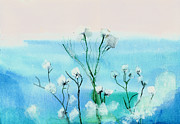 Peaceful Scene Paintings - Cotton poppies by Anil Nene