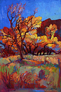 Zion National Park Painting Prints - Cottonwood Flame Print by Erin Hanson