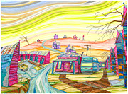 Nostalgic Drawings Prints - Cottonwood Holiday Court Print by Scott Kirby