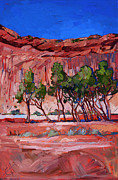 National Parks Paintings - Cottonwoods at Chelly III by Erin Hanson