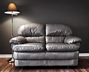 Indoor Metal Prints - Couch and lamp Metal Print by Elena Elisseeva