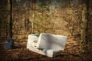 Tv Set Prints - Couch and TV in the forest Print by Matthias Hauser