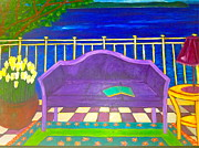 Purple Couch Posters - Couch on Veranda by Seaside Poster by Ilona  Metcalfe