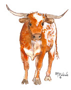 "\\\""texas Artist\\\\\\\"" Metal Prints - Could it be Bevo? Metal Print by Kathleen McElwaine"