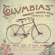 Bicycle Collage Prints - Coulmbias Bicycle Company Vintage artwork Print by Art World